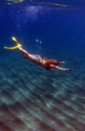 Diving in a clear sea